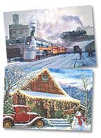 Train Tractor and Car Christmas Card | 74240 & 74249